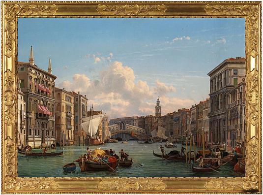Vue du Grand Canal avec le pont du Rialto