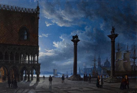 Piazza San Marco bei Mondschein. 1847