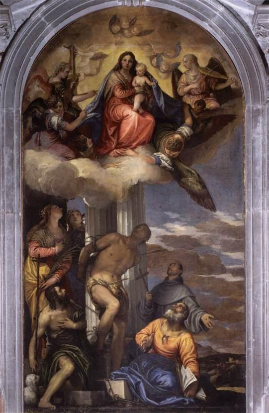 Madone en gloire avec les saints