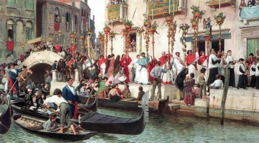 Fête Dieu à Venise, par Luigi Passini (Vienne, 1832 † Venise, 1903) vers 1873-74.