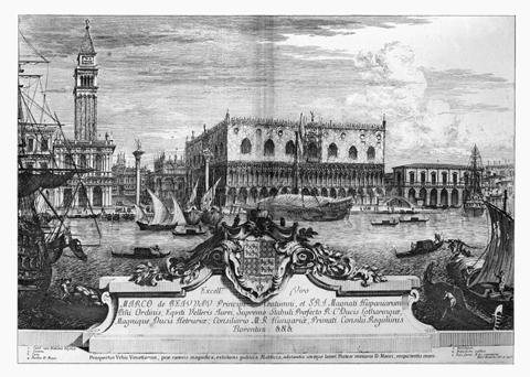 Marieschi - Veduta di Venezia con dedica da magnificentiores i stato