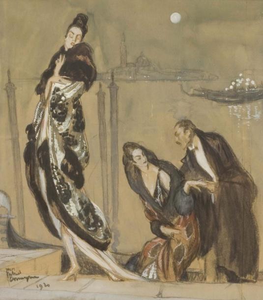 Elégants à Venise Aquarelle sur papier 36 x 32 cm Signé et daté 1920 bas gauche