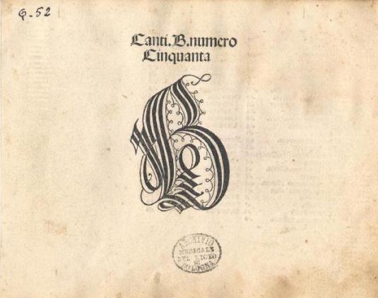 Frontispice de Canti B, exemplaire conservé au Musée international et bibliothèque de la musique (Bologne)