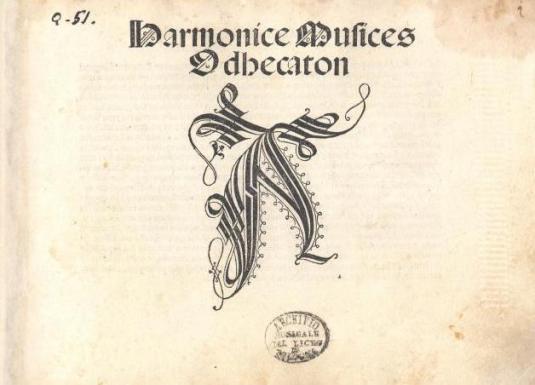 Frontispice de l'Odhecaton A, exemplaire conservé au Musée international et bibliothèque de la musique (Bologne)