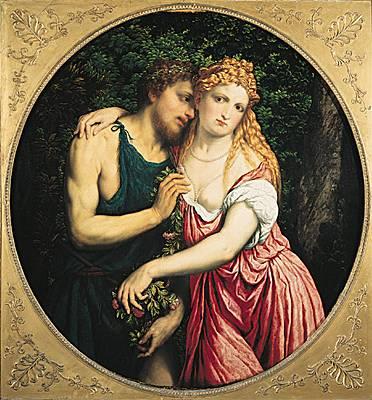 Daphnis et Chloé (XVIe siècle), par Paris Bordone. Peinture à l'huile. (Musée du Louvre, Paris.)