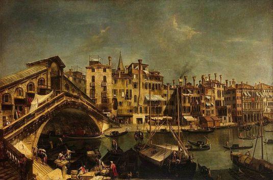 Marieschi - Le pont du Rialto depuis la riva del vin