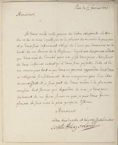 Lettre d'Alexis Orlov en 1775