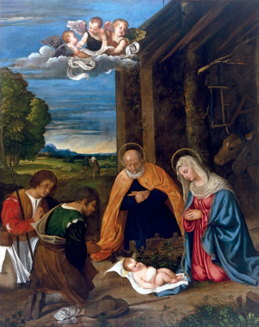 Titien (Tiziano Vecelio) - L'Adoration des bergers - 1510-11, Houston, Museum of Fine Arts, Kress Collection