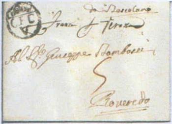 Lettre transportée par la Compagnia dei Corrieri Veneti
