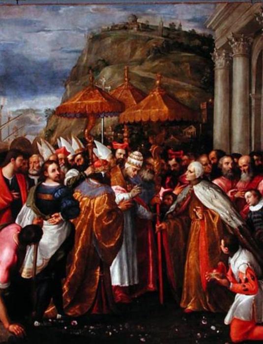 Paix de Venise (1177) : Alexandre III, l'empereur Barberousse et le Doge se rencontrent à Ancône - Girolamo Gamberato, Palazzo Ducale à Venise, Grande Salle du Conseil