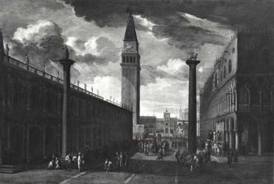 Anonimo sec. XVIII , Veduta di Venezia con la Piazzetta verso la torre dell'Orologio