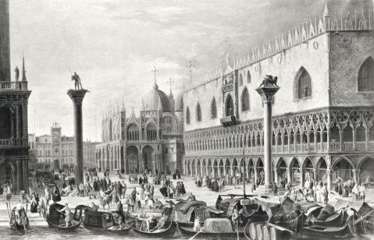 Carlevaris Luca , Veduta di Venezia con la Piazzetta verso la torre dell'Orologio