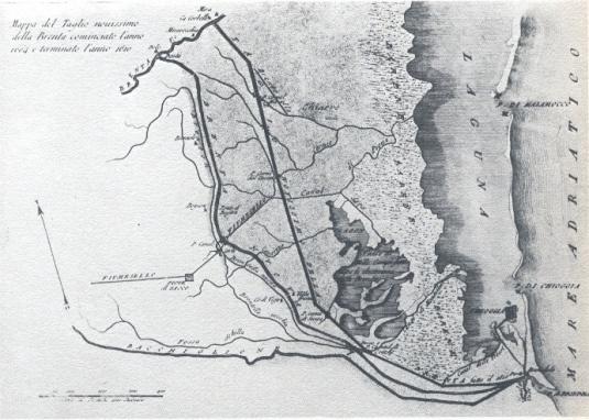 Tracé du Taglio Nuovissimo del Brenta en 1610 - Zedrini - 1811