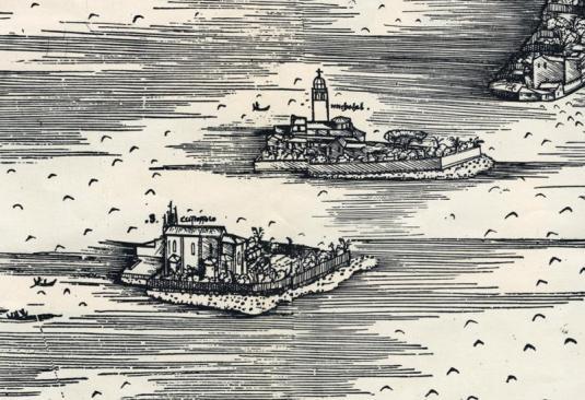 Îles de S. Michele et S. Christoforo sur le plan de Jacopo Barbari