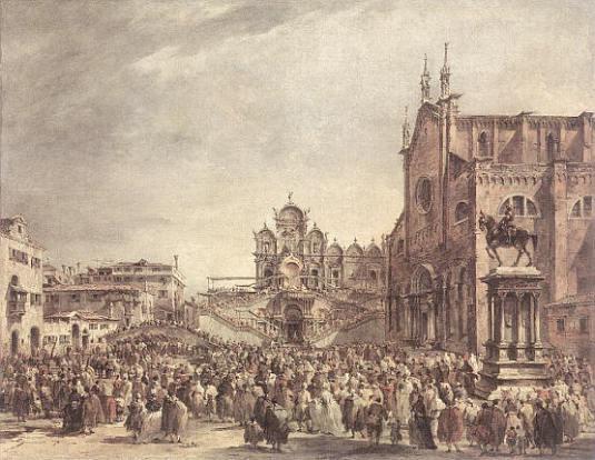 Pie VI bénit la foule sur la campo Sa Giovani e Paolo