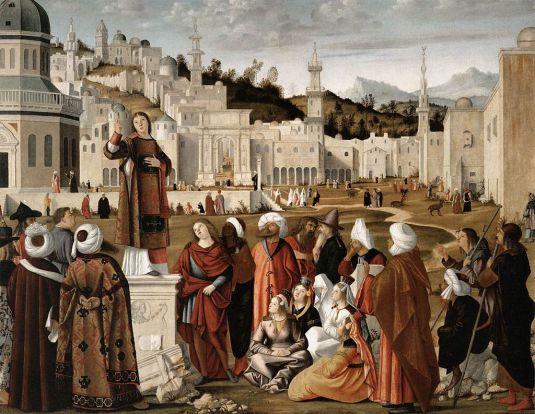 Vittore Carpaccio - Prédication de San Stefano