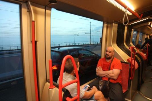 Mestre - Prima corsa del tram con capolinea Venezia