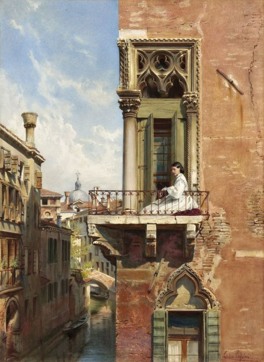 Anna Passini au balcon du Palazzo Priuli